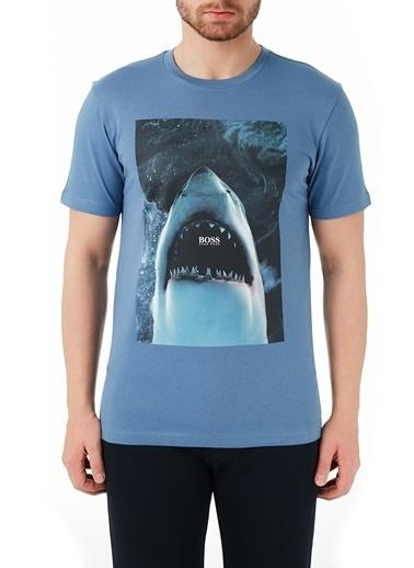 Hugo Boss  % 100 Pamuklu Bisiklet Yaka T Shirt Erkek T Shırt 50450911 489 Mavi